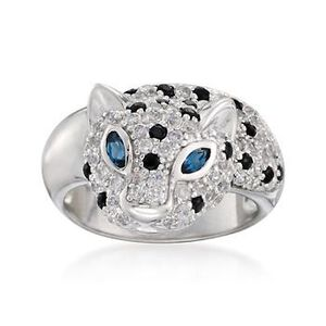 1.35 ct. t.w. White Topaz and .25 ct. t.w. Black Sapphire Panther Ring With Blue Topaz in Sterling Silver #765724
