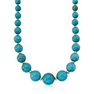 Turquoise Bead Necklace in 14kt Yellow Gold #481780