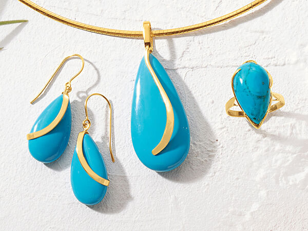 14kt Yellow Gold Turquoise Earrings, Pendant and Ring
