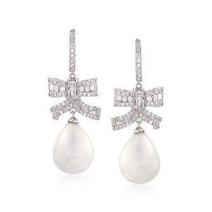 11.20 ct. t.w. CZ Bow and Simulated Pearl Drop Earrings in Sterling Silver #793820