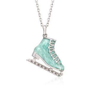 Light Blue Enamel Ice Skate Pendant Necklace With Diamond Accents in Sterling Silver. #822462