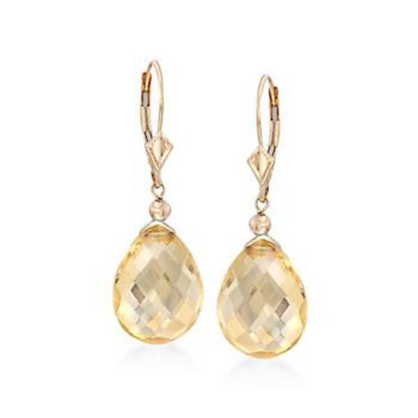 17.00 ct. t.w. Citrine Drop Earrings in 14kt Yellow Gold #792403