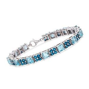 18.25 ct. t.w. Blue and London Blue Topaz Bracelet in Sterling Silver #817561