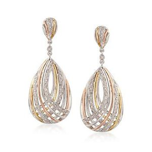 Tri-Colored Crisscross Teardrop Earrings With Diamonds #799463