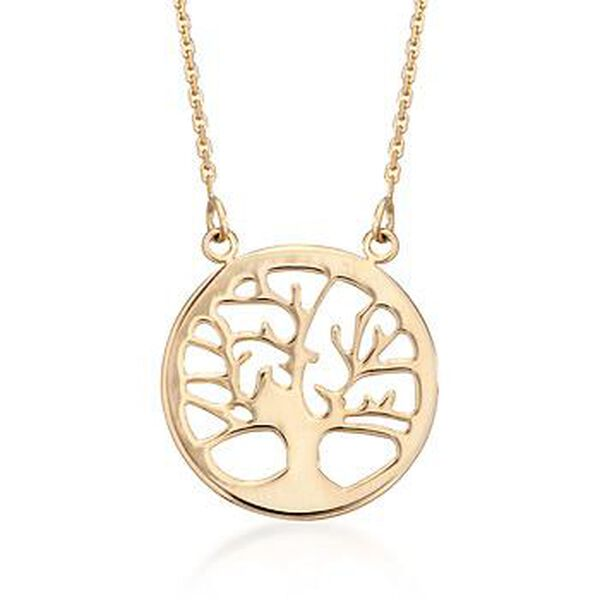 14kt Yellow Gold Tree of Life Pendant Necklace. #823356