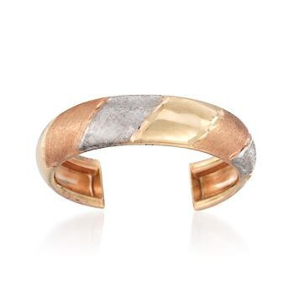 14kt Tri-Colored Gold Striped Toe Ring #826924