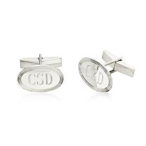 Sterling Silver Personalized Oval cuff links #052212
