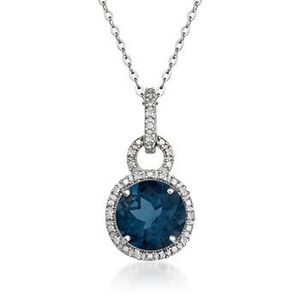 London Blue Topaz Pendant Necklace with Diamonds in Sterling Silver #769316