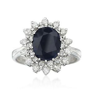 2.75 Carat Sapphire and 1.00 ct. t.w. Diamond Ring in 14kt White Gold #570911