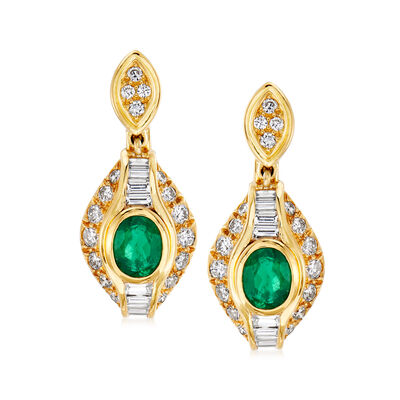 C. 1980 Vintage 2.00 ct. t.w. Emerald and 2.50 ct. t.w. Diamond Drop Earrings in 18kt Yellow Gold, , default