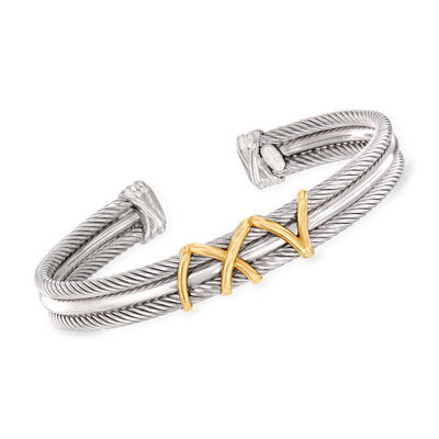 "Phillip Gavriel ""Italian Cable"" Cuff Bracelet in Sterling Silver and 18kt Yellow Gold, , default"