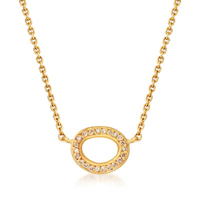 C. 1980 Vintage .18 ct. t.w. Diamond Oval Pendant Necklace in 24kt and 18kt Yellow Gold