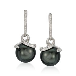 Mikimoto 11mm A+ Black South Sea Pearl and Diamond Earrings in 18kt White Gold, , default