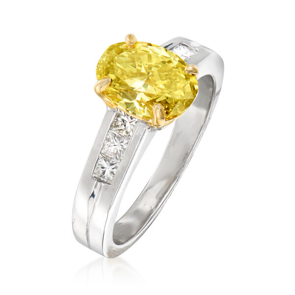 C. 2000 Vintage 1.99 Carat Certified Yellow Diamond and .50 ct. t.w. White Diamond Engagement Ring in Platinum and 14kt Yellow Gold. #937540