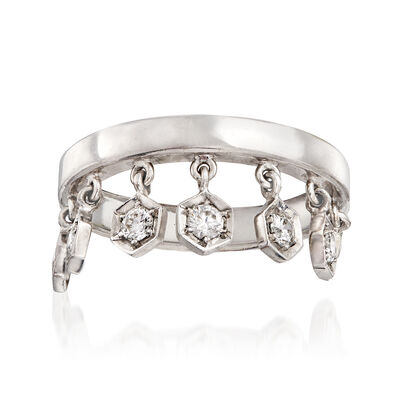 C. 1980 Vintage Piaget .45 ct. t.w. Diamond Charm Ring in 18kt White Gold, , default