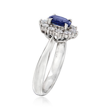 C. 2000 Vintage .77 Carat Sapphire and .43 ct. t.w. Diamond Ring in Platinum. Size 6