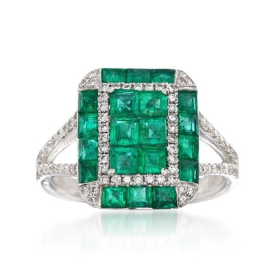 Gregg Ruth 1.80 ct. t.w. Emerald and .34 ct. t.w. Diamond Ring in 18kt White Gold  , , default