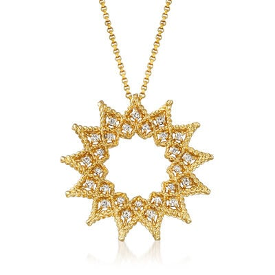 "Roberto Coin ""Roman Barocco"" .22 ct. t.w. Diamond Open Sun Necklace in 18kt Yellow Gold, , default"