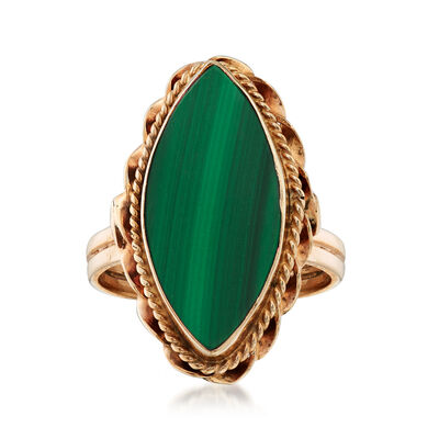 C. 1960 Vintage 18.5x8mm Malachite Ring in 14kt Yellow Gold, , default
