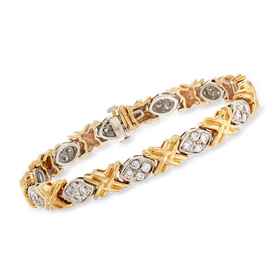 C. 1990 Vintage 2.20 ct. t.w. Diamond XO Bracelet in 14kt Two-Tone Gold