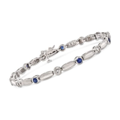 C. 1990 Vintage 1.05 Sapphire and 1.00 ct. t.w. Diamond Bracelet in 14kt White Gold, , default