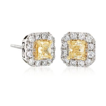 Gregg Ruth .94 Carat Total Weight Yellow and White Diamond Studs in 18-Karat White Gold, , default