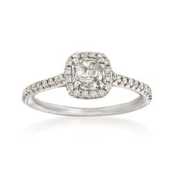 Henri Daussi .72 ct. t.w. Diamond Engagement Ring in 18kt White Gold, , default