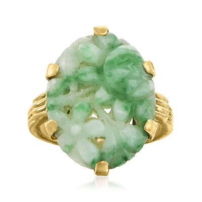 C. 1950 Vintage Jade Ring in 14kt Yellow Gold
