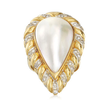 C. 1980 Vintage Mabe Pearl and .35 ct. t.w. Diamond Ring in 18kt Yellow Gold. Size 7, , default