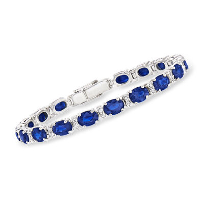 C. 1990 Vintage 17.00 ct. t.w. Sapphire Bracelet with .70 ct. t.w. Diamonds in 18kt White Gold