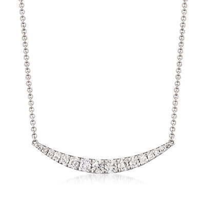 Gabriel Designs .49 ct. t.w. Diamond Curve Bar Necklace in 14kt White Gold