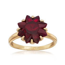 C. 1970 Vintage Synthetic Ruby Flower Ring in 10kt Yellow Gold, , default