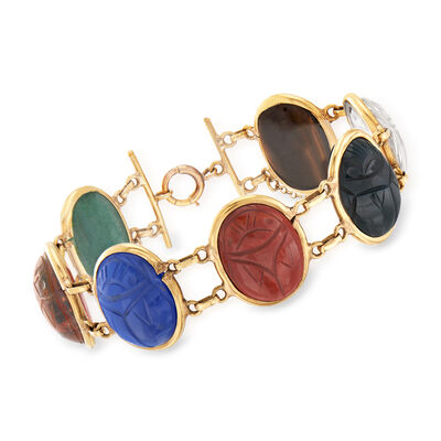 C. 1950 Vintage Multi-Gemstone Scarab Bracelet in 14kt Yellow Gold, , default