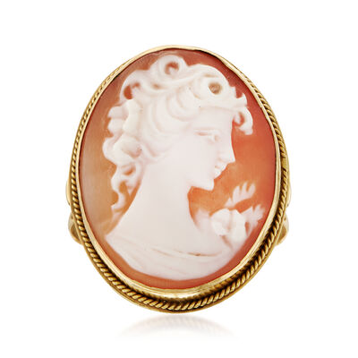 C. 1970 Vintage Pink Shell Cameo Ring in 14kt Yellow Gold , , default