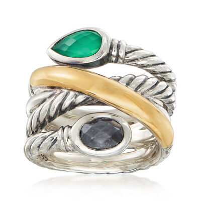 C. 1990 Vintage David Yurman Chalcedony and 6x4.5mm Sapphire Ring in Sterling Silver with 14kt Yellow Gold, , default