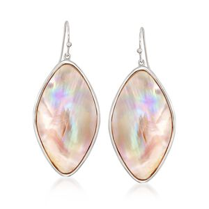 Pink Mother-Of-Pearl Slice Drop Earrings in Sterling Silver #848688