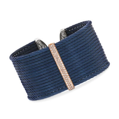 "ALOR ""Classique"" .56 ct. t.w. Diamond Blue Stainless Steel Cable Cuff Bracelet with 18kt Rose Gold"