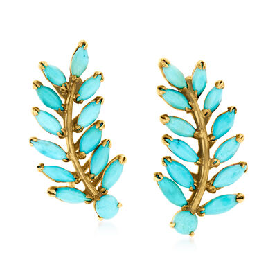 C. 1950 Vintage Turquoise Leaf Non-Pierced Earrings in 14kt Yellow Gold
