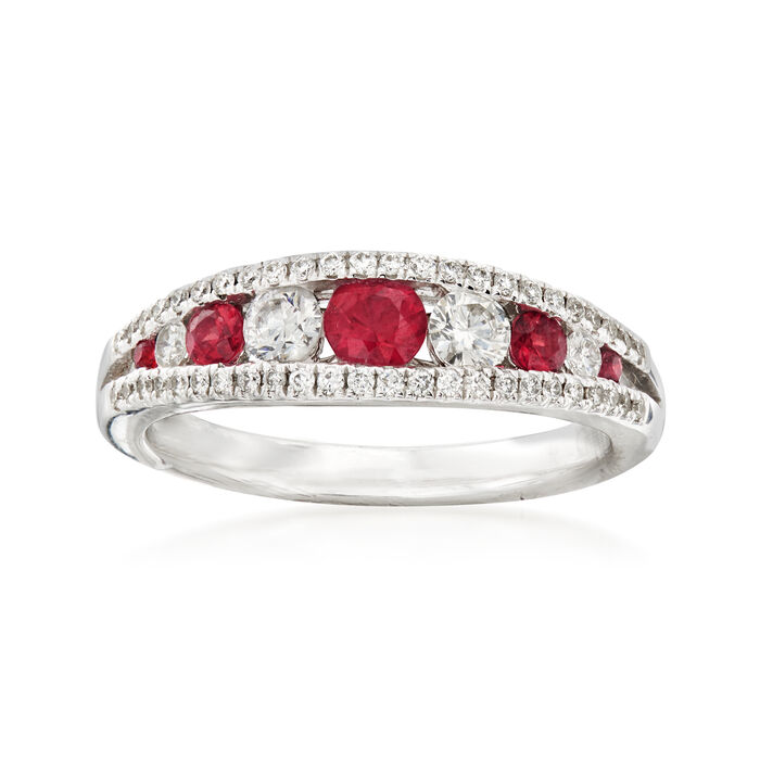 Gregg Ruth .40 ct. t.w. Ruby and .45 ct. t.w. Diamond Ring in 18kt White Gold