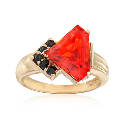C. 1990 Vintage 7.00 Carat Orange Synthetic Sapphire and .25 ct. t.w. Sapphire Ring in 10kt Yellow Gold, , default