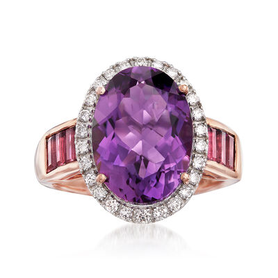 6.25 Carat Amethyst and 1.03 ct. t.w. Multi-Stone Ring in 14kt Rose Gold