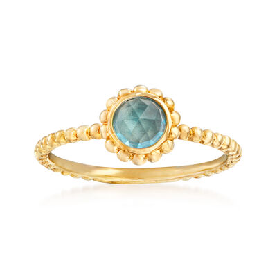Gabriel Designs .80 Carat Swiss Blue Topaz Ring in 14kt Yellow Gold