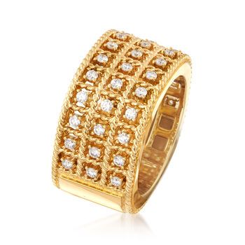"""Roberto Coin """"Barocco"""" .62 ct. t.w. Diamond Three-Row Ring in 18kt Gold. Size 6.5, , default"""