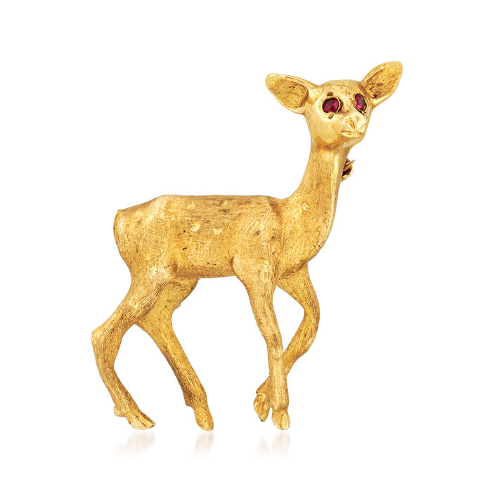 C. 1970 Vintage Deer Pin with Ruby Accents in 14kt Yellow Gold, , default