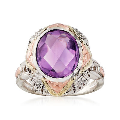 C. 1950 Vintage 3.50 Carat Amethyst Ring in 14kt Two-Tone Gold, , default