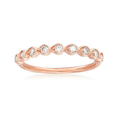 Henri Daussi .26 ct. t.w. Diamond Wedding Ring in 14kt Rose Gold
