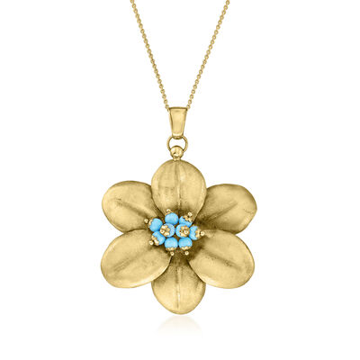 C. 1980 Vintage Turquoise Flower Pendant Necklace in 14kt Yellow Gold