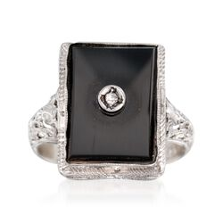 C. 1950 Vintage Black Onyx Ring With Diamond Accents in 14kt White Gold, , default