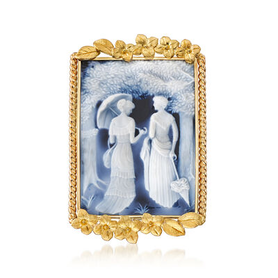 C. 1980 Vintage Blue Agate Cameo Pin/Pendant in 18kt Yellow Gold, , default