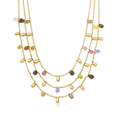 C. 1990 Vintage 20.40 ct. t.w. Multi-Gemstone Three-Strand Drop Necklace in 14kt Yellow Gold